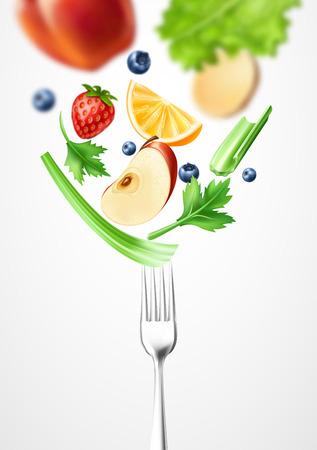 Vector healthy food 3d vegetable on silver fork Illustration