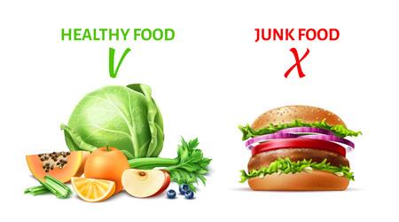Vector realistic healthy and junk food concept