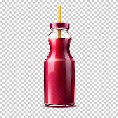 Vector 3d purple juice smoothie glass bottle