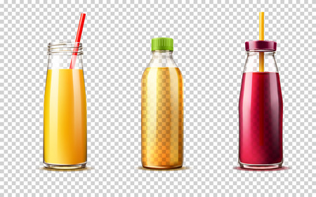 Vector 3d purple orange juice glass bottle set