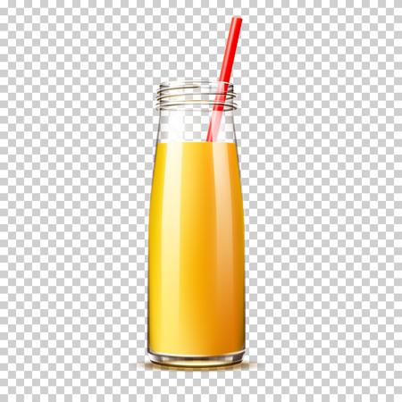 Vector realistic orange juice bottle with straw