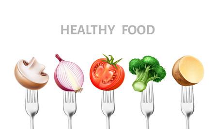 Vector healthy food 3d vegetable on silver forks Illustration