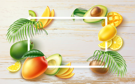Vector summer party tropical fruit banner in frame