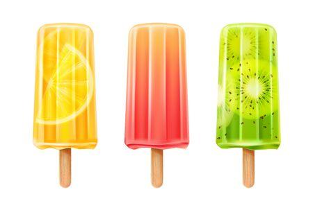 Vector 3d fruit  ice creams set