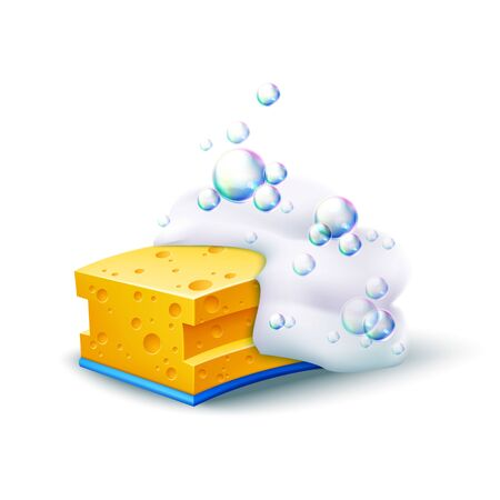 Realistic yellow sponge with colorful soapy bubbles. Dishes washing, household chores tool. Vector skincare, bath hygiene design element. Housework, kitchen cleaning sponge.