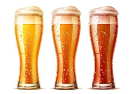 Vector realistic beer glasses set lager dark ale