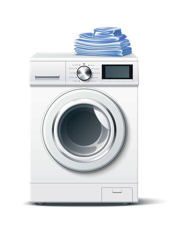 Vector realistic washing machine white 3d mockup Ilustrace