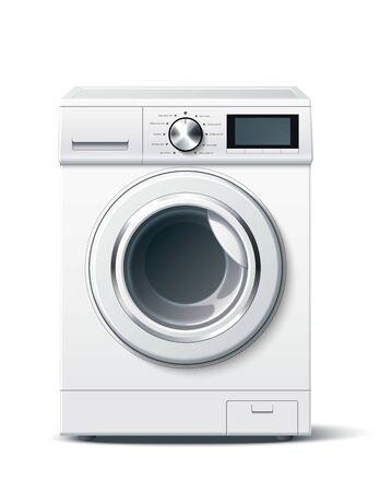 Vector realistic washing machine white 3d mockup Stock Illustratie