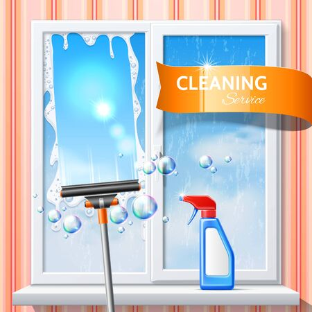 Vector window cleaning squeege 3d detergent spray 일러스트