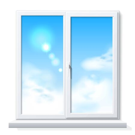 Vector realistic PVC window white blank mockup