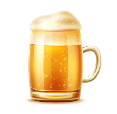 Vector realistic beer glass mug of lager ale
