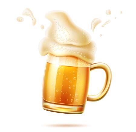 Jarra de vidrio de cerveza realista vector de cerveza lager ale Ilustración de vector