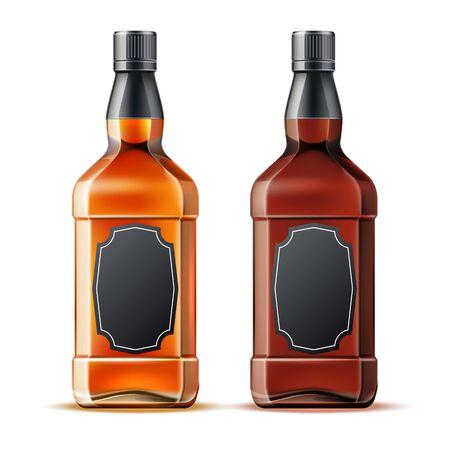 Vector realistic whiskey, rum or brandy bottles