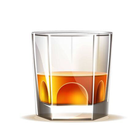 Vector realistic scotch wiskey, glass of brandy