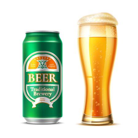 Vector realista vaso de cerveza lager botella de cerveza