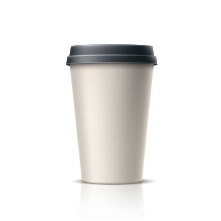 Realistic coffee, tea disposable cup. Vector takeaway caffeine drink container. 3d espresso, hot beverage in paper container. Coffee in cardboard cup mockup. Morning refreshing drink  イラスト・ベクター素材