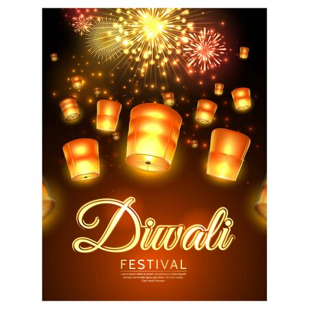Vector diwali festival poster with flying lanterns