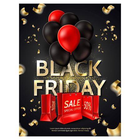 Vector black friday poster balloons shopping bag