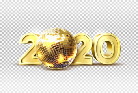 Vector 2020 new year party golden disco ball