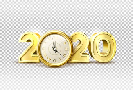 Vector 2020 new year holiday with realistic clock