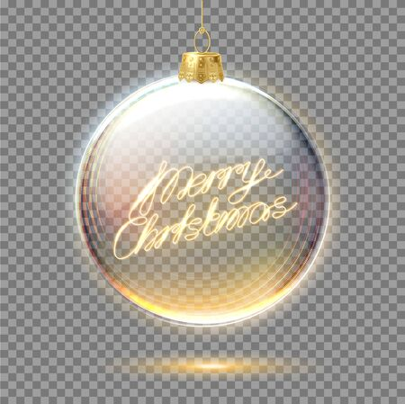 Vector merry christmas lettering in tree ball Ilustrace