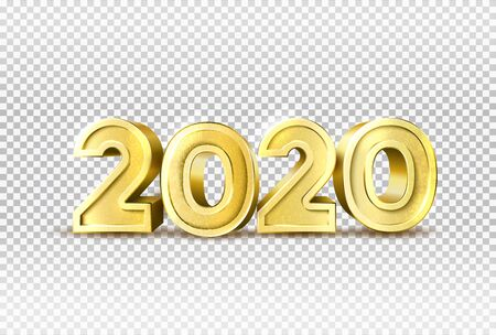 Vector 2020 new year holiday 3d golden numbers