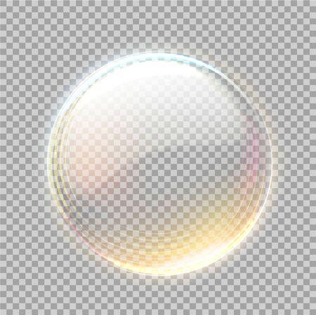 Vector 3d transparent sphere with golden blick 일러스트