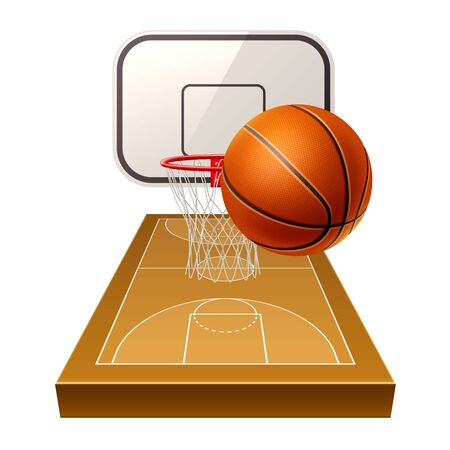 Vector realistic basketball ground 3d orange ball 일러스트