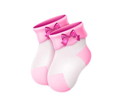 Vector wool baby socks. Newborn baby cute socks 3d Иллюстрация