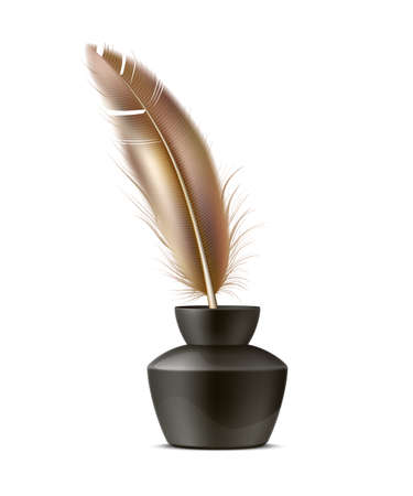 Vector realistic quill pen in inkpot, feather pen