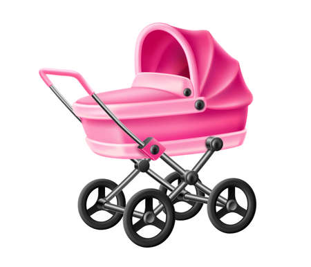 Vector 3d baby strolle pink baby carriage pram
