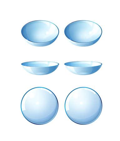 Vector realistic contact lenses blue mock up set
