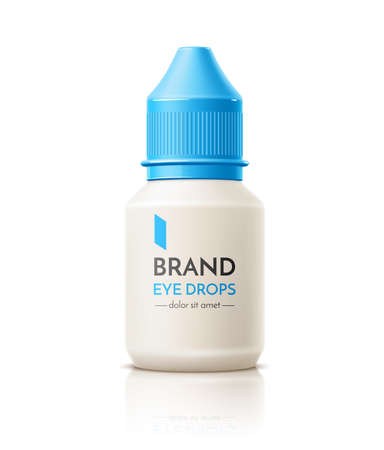 Vector 3d contact lens drops container mock up Illustration