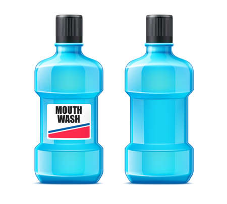 Vector realistic mouth wash bottle mock up
