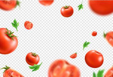 Vector realistic fresh red ripe tomato pattern Illustration