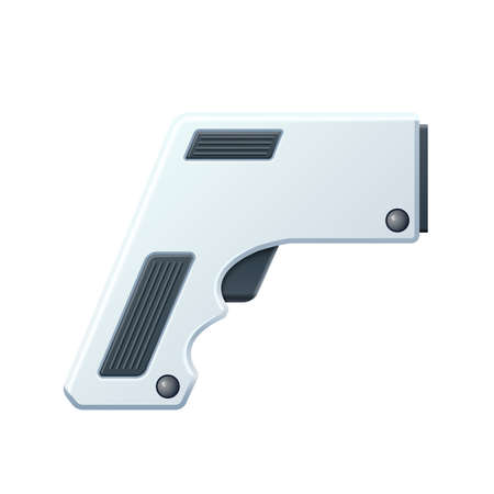 Vector contactless thermometer gun 3d icon