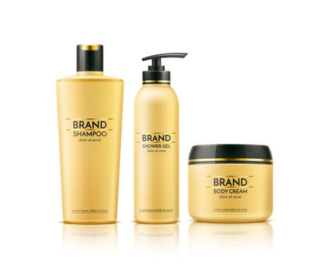 Vector realistic spa cream tube dry shampoo bottle Illustration