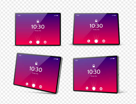 Vector 3d tablet pc mockup with bright screen