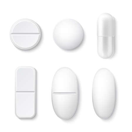Vector 3d white drugs pills tablets capsule mockup