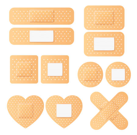 Vector realistic plaster adhesive tape bandage set