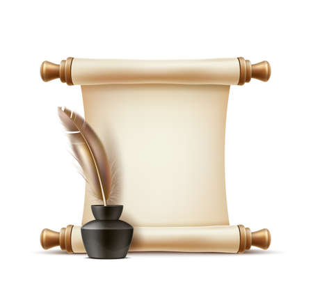 Vector realistic quill pen in inkpot paper scroll