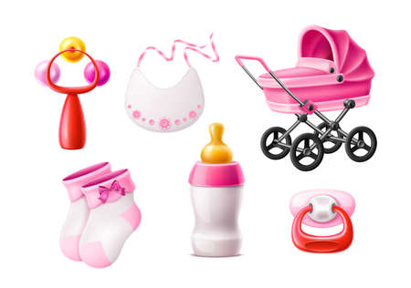 Vector realistic newborn infant baby products set