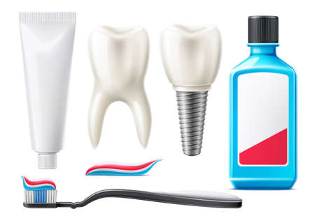 Vector 3d teeth and oral care products mock up