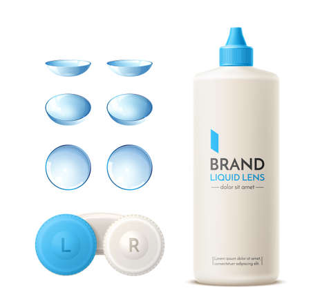 Vector realistic contact lens container mock up Illustration