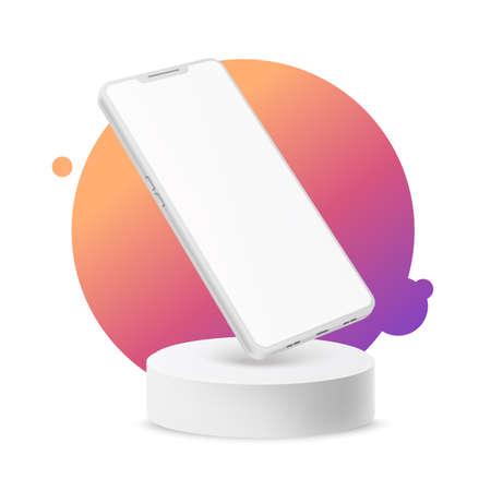 Vector 3d frameless smartphone mock on podium