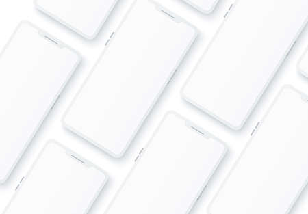 Vector 3d frameless smartphone mock up pattern