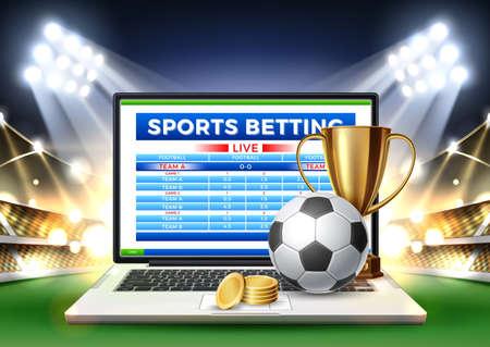 Vector online sports betting mobile app laptop Archivio Fotografico