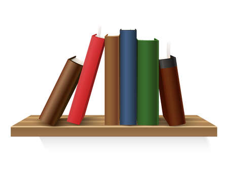Vector realistic hardcover book stack at shelf