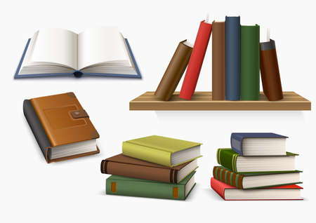 Vector 3d hardcover book stack symbol of knowledge