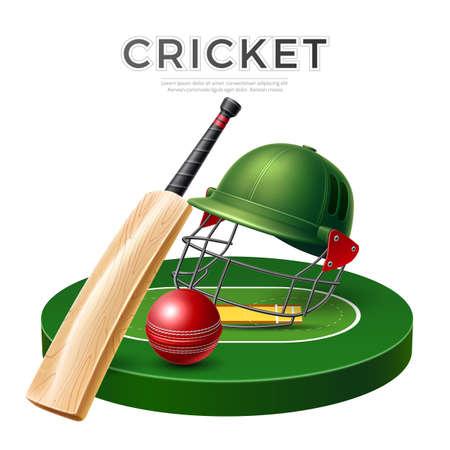 Vector realistic cricket bat stick betting promo Иллюстрация